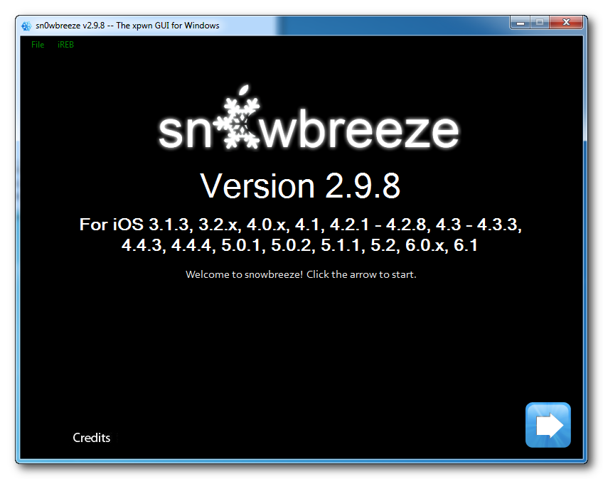 Sn0wbreeze Start Jailbreak Menu