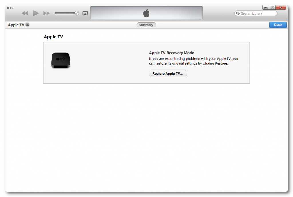 Restoring Apple TV 2 via iTunes