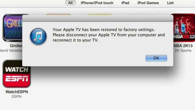 iTunes Says Apple TV Restored to Factory Settings