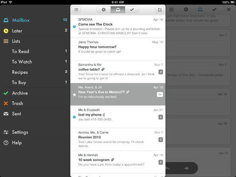 Mailbox for iPad inbox menu