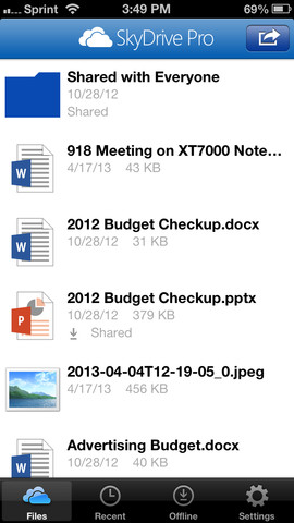 SkyDrive Pro App for iOS