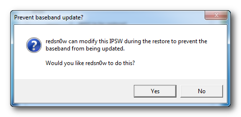 Redsn0w: Prevent Baseband from being Updated, Say Yes