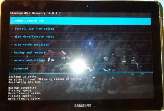 CWM Recovery Mode on Galaxy Note 10.1