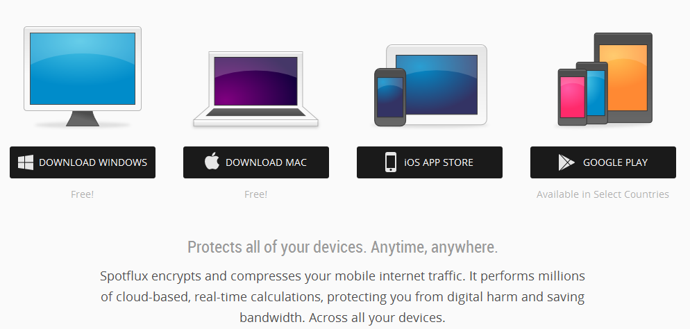 Spotflux: Free VPN App for Android, iOS and Windows devices