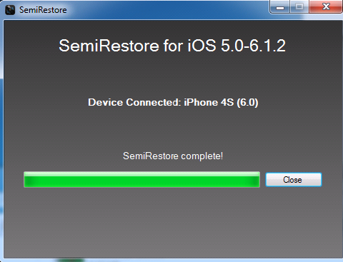 Semi-Restore Successfully Complete
