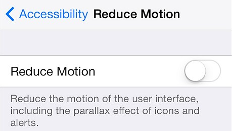 Disable Reduce Motion - iOS7