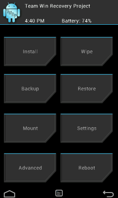 TWRP Recovery Menu on Galaxy Note 2