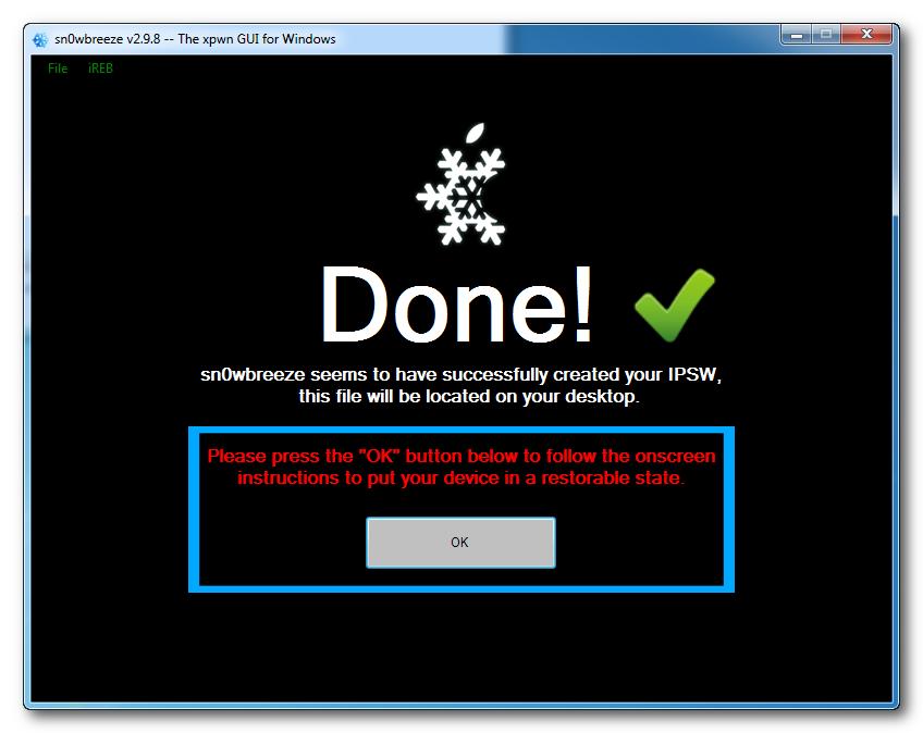 Custom IPSW File Successfully Created