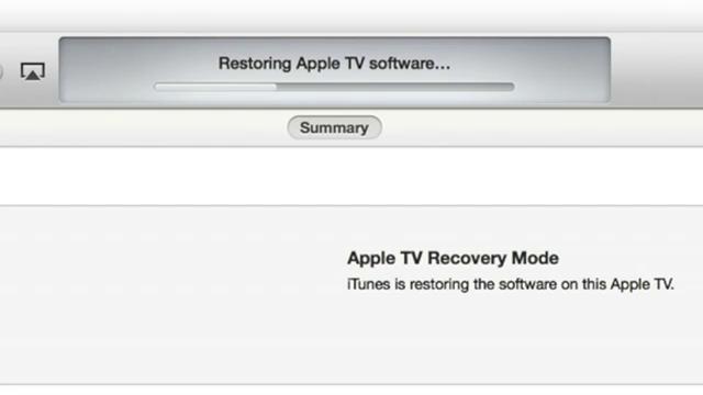 Restoring Apple TV via iTunes