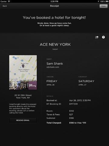 Hotels Tonight App for iPad