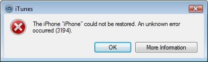 iTunes Error 3194 Solutions