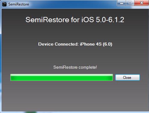 Semi-Restore Successfully Complete